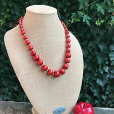 "24"" Hand Crafted Ascending Size Wood Red & Natural Bead Necklace Silver Clasp"