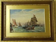 ⭐William James Callcott, Original Gouache, Hafen Schiffe England Widmung 1884⭐