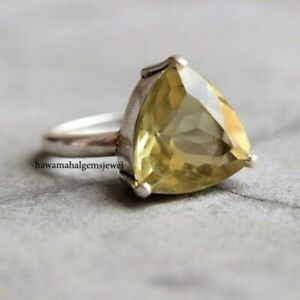 925 Silver Natural Citrine Trillion Ring Women Rings Faceted Gemstone Jewelry