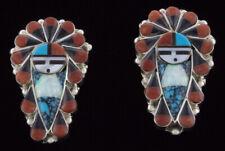 Godseye With War Bonnet Headdress Inlay Earrings By Zuni Artist Stanford Gchachu
