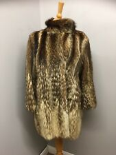 Real Fur Coat by Paul of London, Size UK 10 Thought to be Raccoon or Wolf