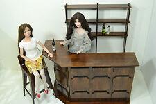 NEW BAR SET furniture for Dolls 12 in 1:6 FR Barbie wooden PUB RESTAURANT rare
