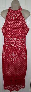 NEW Womens🦋QUIZ🦋red stretch lined crochet midi dress size 18