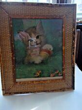 Vintage- FLORENCE KROGER-TWINKLE Kitten Print w/ Vintage Bamboo Frame