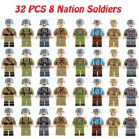 32 pcs WWII 8 Nation Soldiers Military Figures Building Blocks Toys Fit Lego