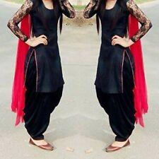 Navaratri Indian Ethnic Punjabi Patiyala Cotton Black UnStitch Salwar Suit Dress
