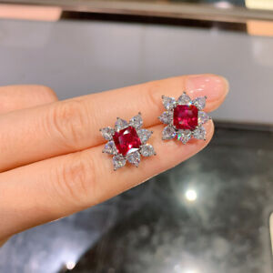 2.50Ct Asscher Cut Red Ruby & Diamond Halo Stud Earrings 14K White Gold Finish