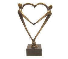 leuk kado met naam kunstbeeld hart voor elkaar tin bronskleurig