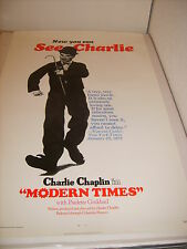 MODERN TIMES CHARLIE CHAPLIN 1972 US ORIGINAL 27x41 SS ROLLED MOVIE POSTER (505)