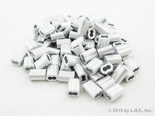 """100 - Ferrules Only 3/32"""" Aluminum Cable Snare Wire Swage Line End Double Barrel"""