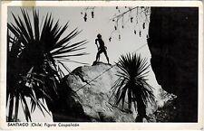 Chile Postcard Santiago Cerro Santa lucia Figura de Caupolican