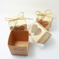 Heart Love Retro Rustic Sweet Laser Cut Candy Gift Boxes Wedding Party Favour