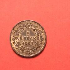 1/2 KREUZER 1863 ,exemplaire De Qualité