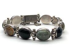 """Vintage Sterling Silver Bracelet 925 6"""" Rutilated  Quartz Multi Color 34 Grams"""