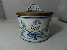 Antique  Blue Onion Salt Box Wall Hanging Made in Germany