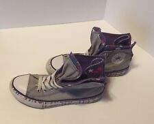 Chuck Taylor Converse High Top Zipper Back Gray Double Upper Youth Sz 2 Sneakers