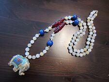 Antique Chinese Cloisonne Enamel Elephant Pendant Jade Lapis Crystal Necklace