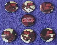 WALKING DEAD Lot 7 Promo Pins Buttons RARE #100 Fear Negan Lucille Comics AMC TV