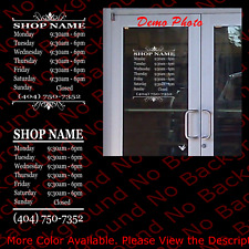 Custom Store Shop Name Business Hours Vinyl Window Decal Sign Window Door Bs015