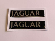 JAGUAR stickers/decals 2 x 90mm CHROME & BLACK - HIGH GLOSS DOMED GEL FINISH