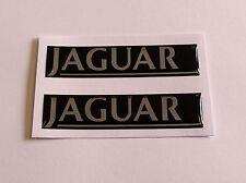 JAGUAR autocollants / stickers 2 x 70 mm Chrome & Noir-brillant finition gel en forme de dôme