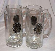 EUC Set Of 4 Glass Beer Steins Mugs Pewter & Brass Golf Bag & Clubs 3D Emblem