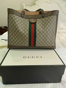 New GUCCI GG Logo Tote Bag In Brown Beige Leather Ophidia