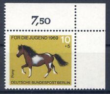 Berlin Mi-Nr 326  Ecke 2  (10+5) -Jugend;Pferde- ** Postfisch 1969