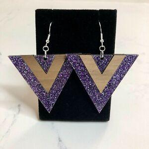Purple Glitter Walnut Triangle Dangle Earrings