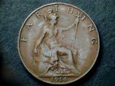 George V 1914 Bronze Farthing, grade average.