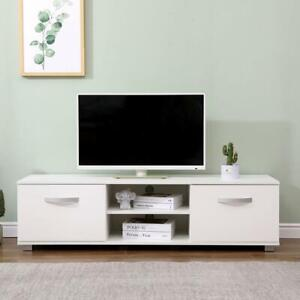 White 140cm Wide TV Stand Gloss Fronts Television Cabinet 2 Storage Cupboards