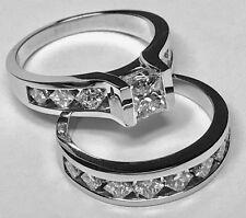 2.05CT PRINCESS CUT DIAMOND ENGAGEMENT RING BRIDAL SET 14K WHITE GOLD PD6501S