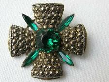 Vintage Goldtone Faux Marcasite & Emerald Glass Stones Maltese Cross Brooch Pin