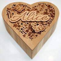Personalised Birthday Gift Wooden Love Heart Jewellery Keepsake Box Trinket Mum
