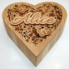 Personalised Birthday Gift Wooden Love Heart Jewellery Keepsake Box Trinket Mum