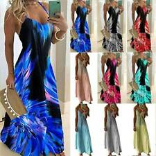 Womens Boho Sexy Strappy Long Maxi Dress Beach Holiday Casual Sundress Plus Size