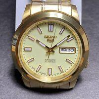 SEIKO 5 LumiBrite Gold SNKK24J1 21 Jewels Automatic Japan Made 35mm Full Lume