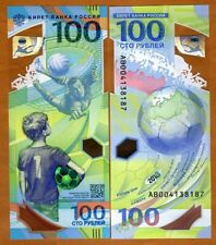 Russia, 100 rubles, 2018, FIFA, Football World Cup Commemorative Polymer AB, UNC