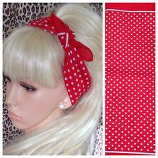 NEW RED WHITE POLKA DOT PRINT COTTON BANDANA HEAD HAIR NECK SCARF 50s 60s RETRO
