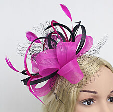 FUSCHIA PINK & BLACK SINAMAY FASCINATOR WITH VEILING & MATCHING FEATHERS RACES