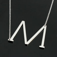 26 ABC Letter Women Stainless Steel Jewelry Choker Chunky Pendant Necklace Chain