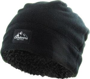 KB ETHOS Fleece Fur Lined Sherpa Skull Cap Black Knit Winter Hat Beanie