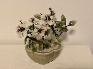 "Oriental Vintage Glass Jade Green Leaf White Blossom Bonsai Tree Ceramic Pot 8""L"