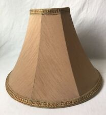 "Brown Fabric Table Lamp Shade with Green Gold Trim 16"" Silk?"