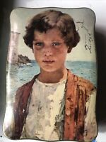 Vintage Allen's Toffee Tin Boy by the Waters C.S Allen Corp Brooklyn NY