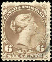 1868 Used Canada F-VF Scott #27v 6c SHADE of BROWN  Large Queen Issue Stamp