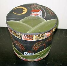 Vintage Wood Cheese Box Folk Art Painting Halloween Fall Moon Barn Corn