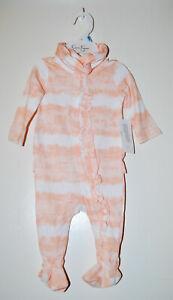 NWT Jessica Simpson Infant Girls Peach Tie Dye LS Footed Romper & Headband 3-6M