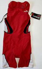 TYR Womens Medium Red White Triathlon Short John Zipper Back CARBON USA Made New