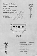 59 FLINES-LES-RACHES ETS JOEL LAMBERT FABRIQUE DE MEUBLES TARIF 1933